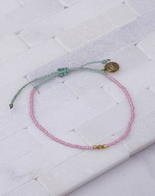 Blush & Cucumber W/ Gold Bead Bracelet