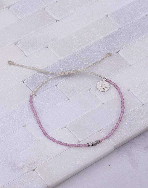 Plum & White Silver Bead Bracelet