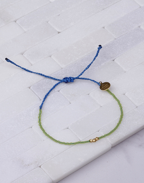 Seaglass Green & Blue Gold Bead Bracelet
