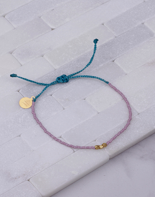 Plum & Teal Gold Bead Bracelet
