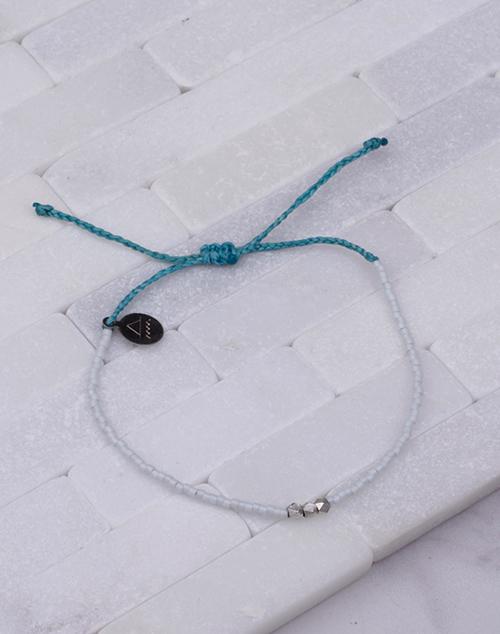 Teal & White Silver Bead Bracelet
