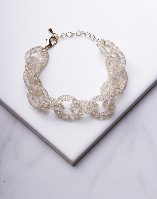 Glitter Wire Link Chain Bracelet