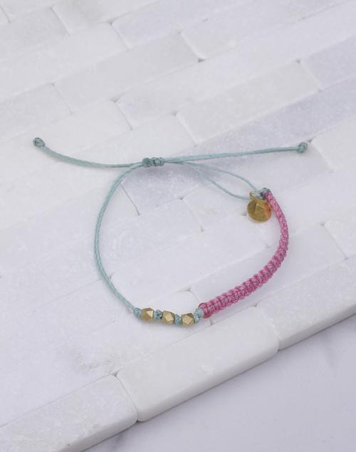 Pink & Cucumber Macrame Gold Bracelet