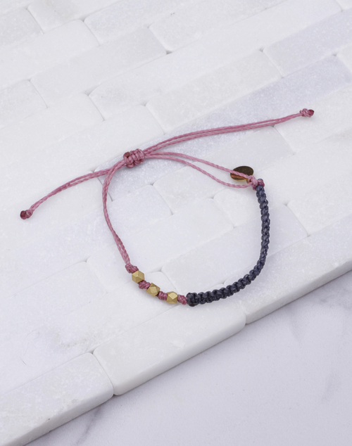 Denim & Rose Macrame Gold Bracelet