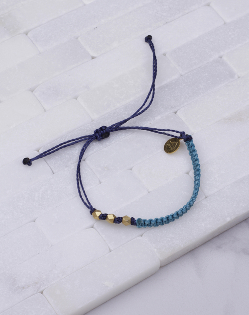Teal & Navy Macrame Gold