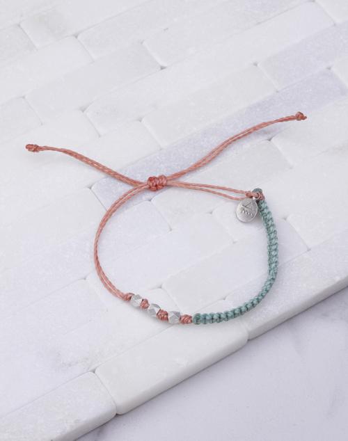 Cucumber & Coral Macrame Silver Bracelet