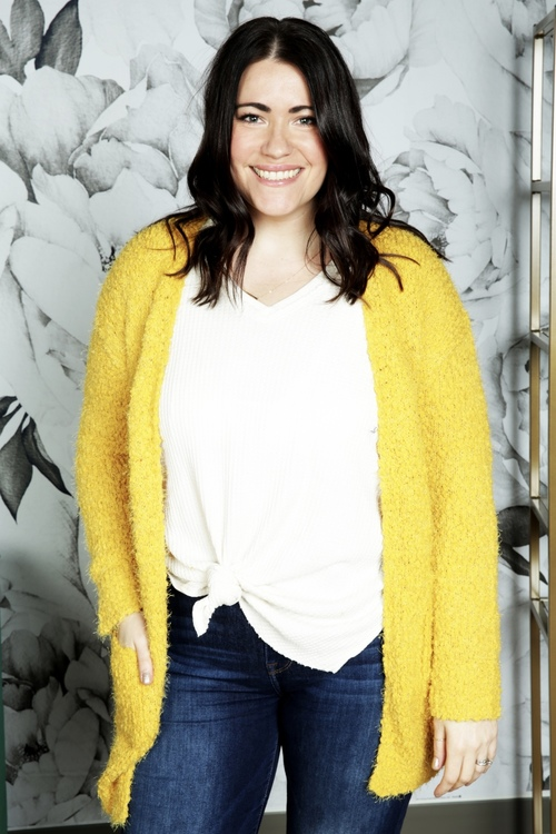 Mustard Eyelash Sweater Cardigan