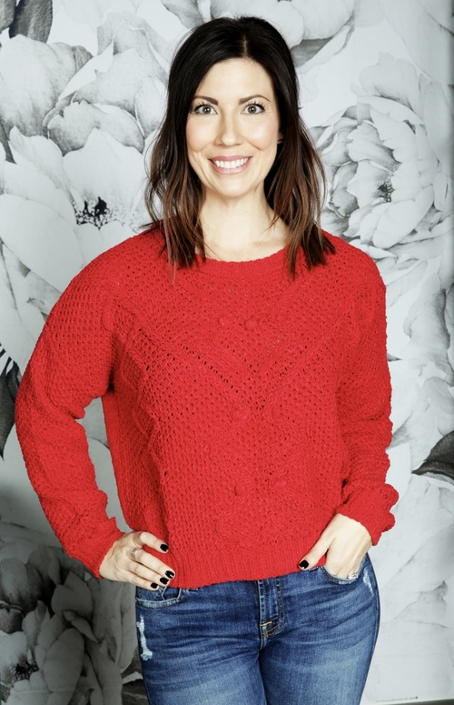 Crimson Basket Weave Sweater