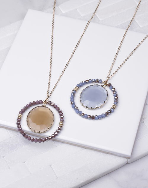 Beaded Halo Faceted Gem Long Necklace