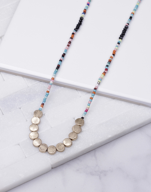 Multi Seed Beaded Long Necklace