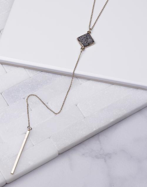 Diamond Shape Black Druzy Lariat Necklace
