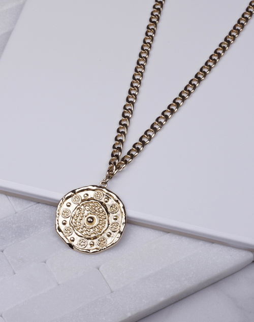 Gold Pendant Wide Chain Long Necklace