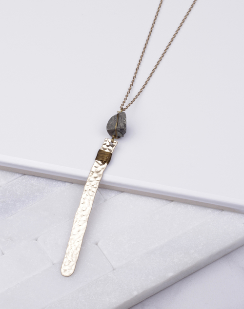 Pyrite Stone Hammered Metal Necklace