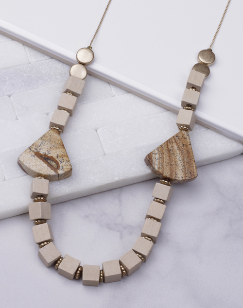 Stone Wood Tri Long Necklace