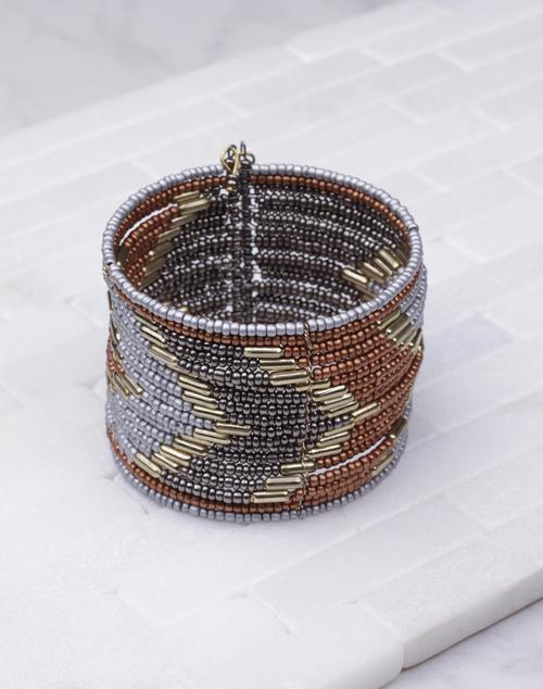 Brown Silver & Pewter Beaded Bracelet