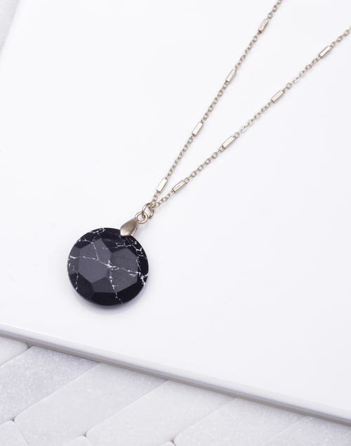 Black Marble Circle Stone Necklace
