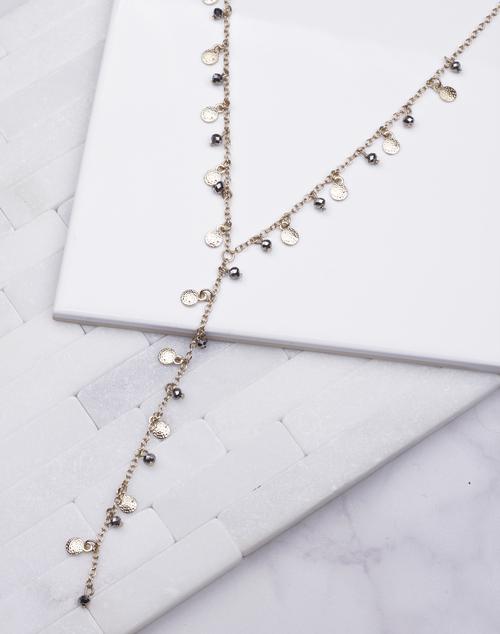 Lariat Circle Drop Beaded Necklace