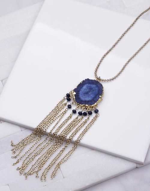 Blue Geoed Chain Tassel Long Necklace