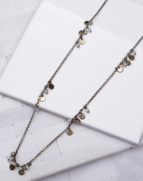 Long Disc Dark Gold Necklace