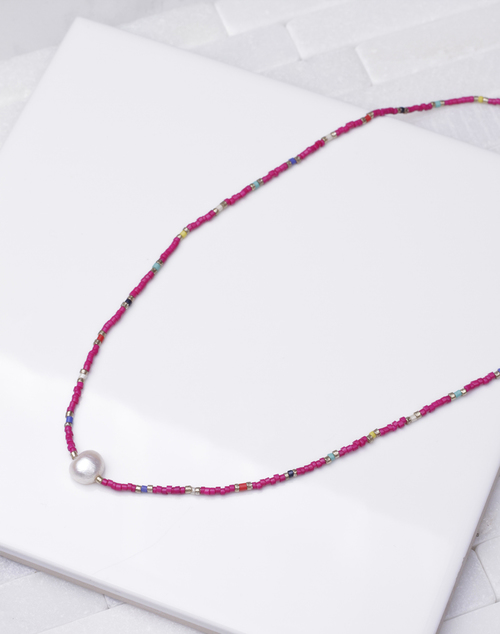 Hot Pink Pearl Beaded Short Necklace