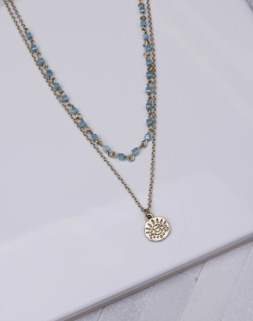 Beaded Layered Chain Evil Eye Gold Disc Necklace