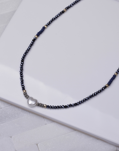 Navy Beaded Single Pearl Necklace