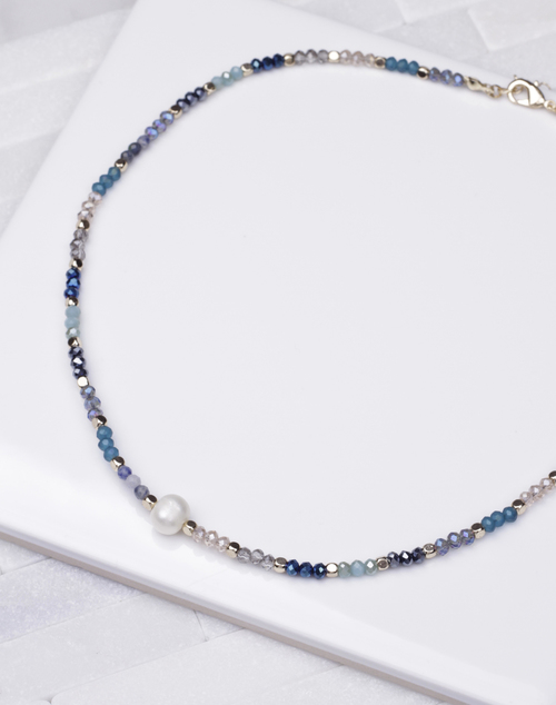 Blue Mono Single Pearl Necklace