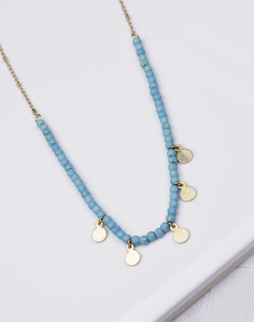 Turquoise Beaded Gold Drop Disc Necklace