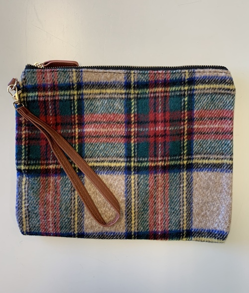 Tan Red & Green Tartan Pouch