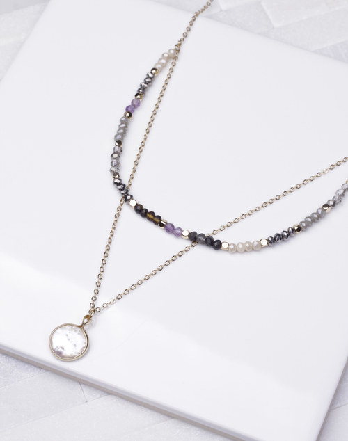 Beaded Layered Pearl Pendant Necklace