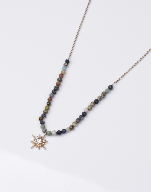 Tiny Stone Beaded Burst Necklace