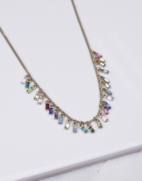 Rainbow Gem Drop Short Necklace Gold