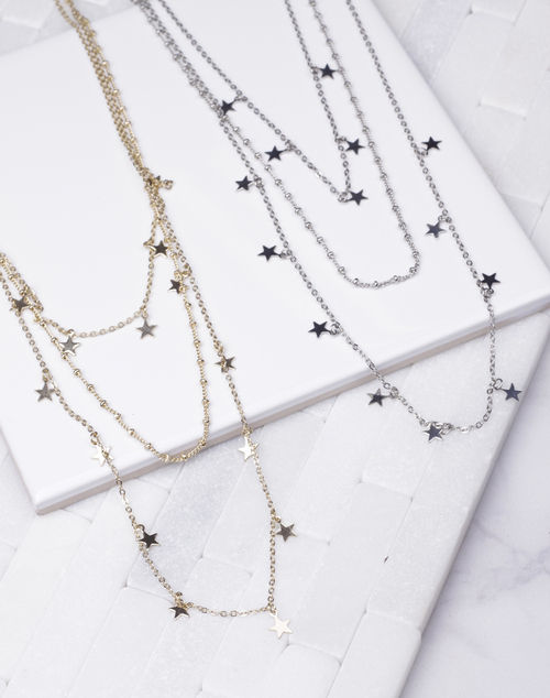 Short Multi Layer Star Necklace