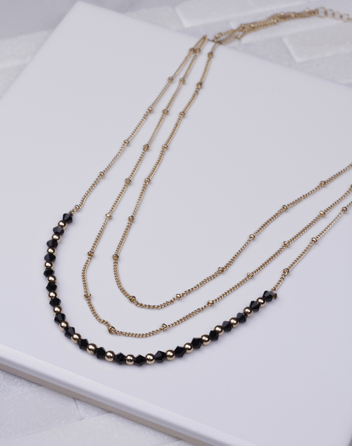 Black Bead Layered Short Necklace