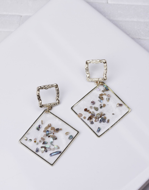 Square Clear Shimmer Flec Dangle