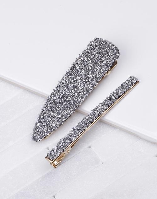 Black & Silver Glitter Hair Clip Set