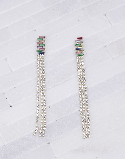 Emerald Rainbow CZ Mesh Dangle