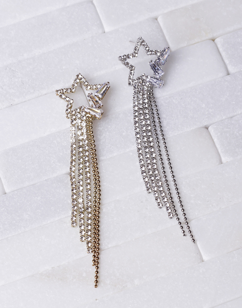 Star Post CZ Waterfall Chain Dangle