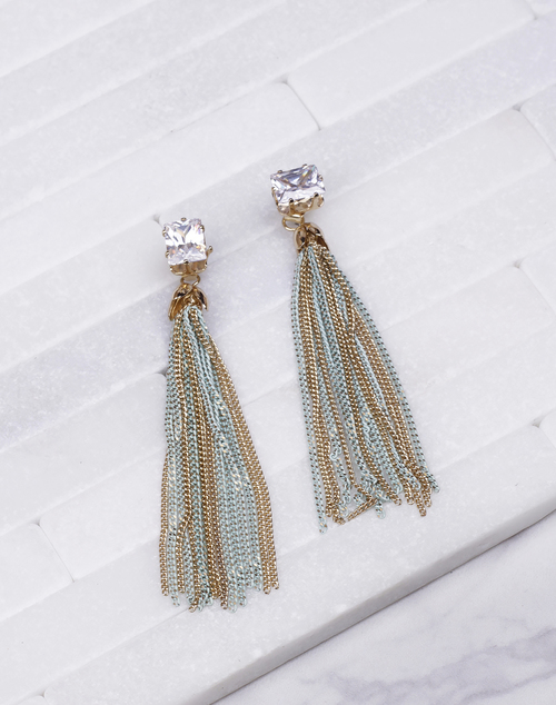 Emerald CZ Chain Tassel Dangle - Gold