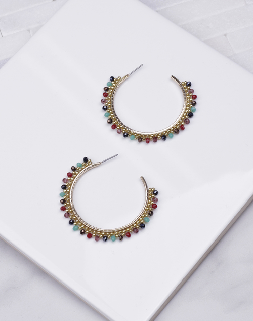 Multi Stone Beaded Hoop
