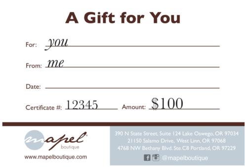 $100 Mapel Gift Certificate
