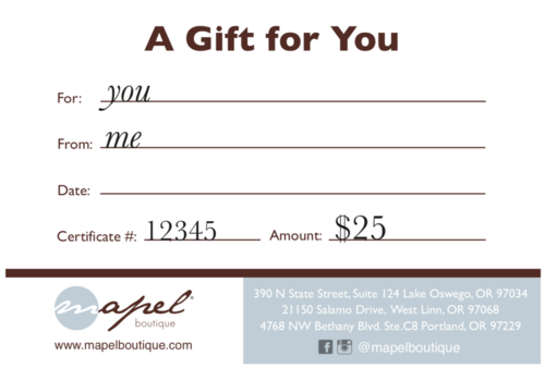 $25 Mapel Gift Certificate