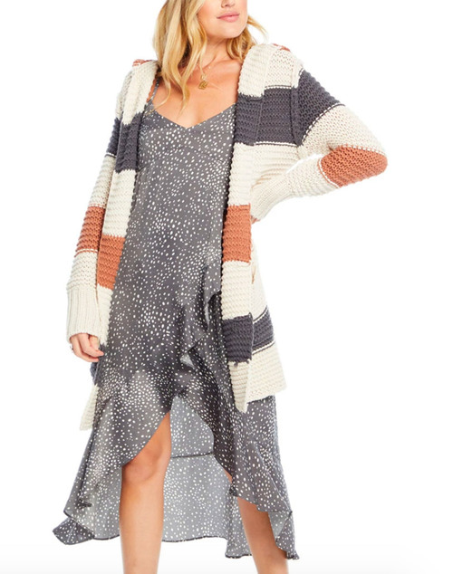 Chunky Hooded Stripe Sweater