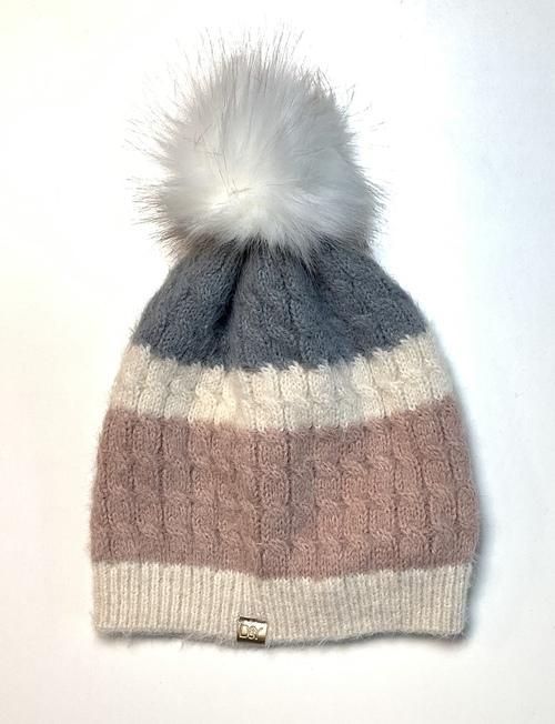 Pink & Grey Stripe Pom Winter Hat