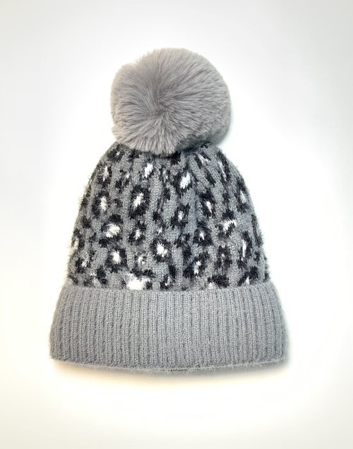 Gray Animal Print Winter Fashion Hat