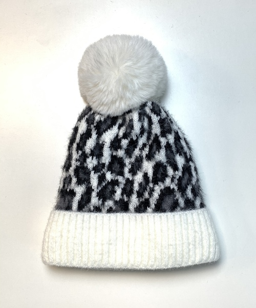 White Animal Print Winter Fashion Hat