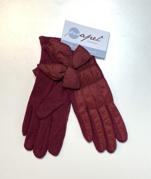 Cranberry Nylon Bow Winter Gloves