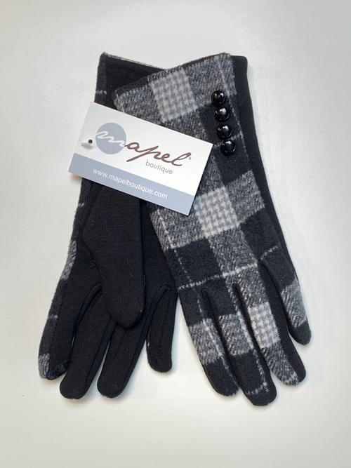 Black & White Plaid Button Smart Touch Glove