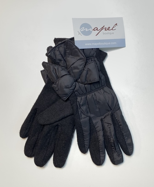 Black Nylon Bow Winter Gloves