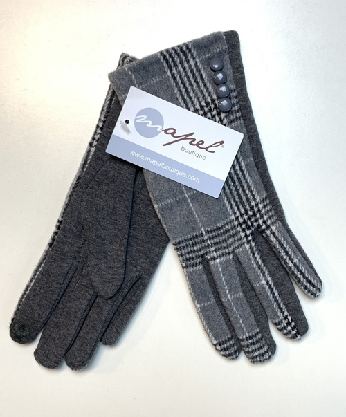 Gray Button Plaid Smart Touch Glove